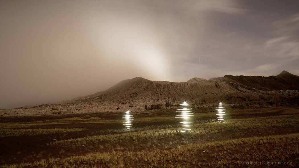 Lightmark No.103, Tengger Sand Sea with Gunung Bromo, East Java, Indonesia, Light Painting, Night Photography.