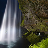 Light Painting and Landscape Photography: Lightmark Lightmark No.106, Light Painting, Night Photography, Seljalandsfoss, Iceland.