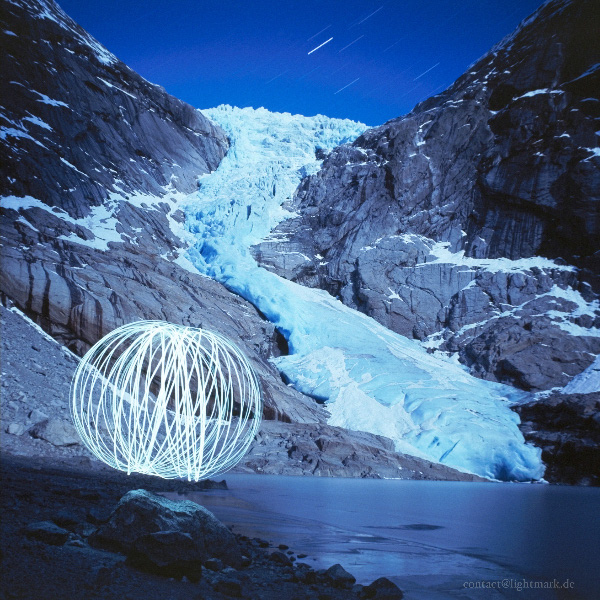 Lightmark No.63, Briksdalsglacier in Jostedal Glacier National Park, Norway, Light Painting, Night Photography.